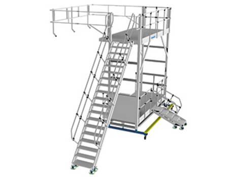 Höhenverstellbare Seitenarbeitsbühne als Sonderkonstruktion aus Alu