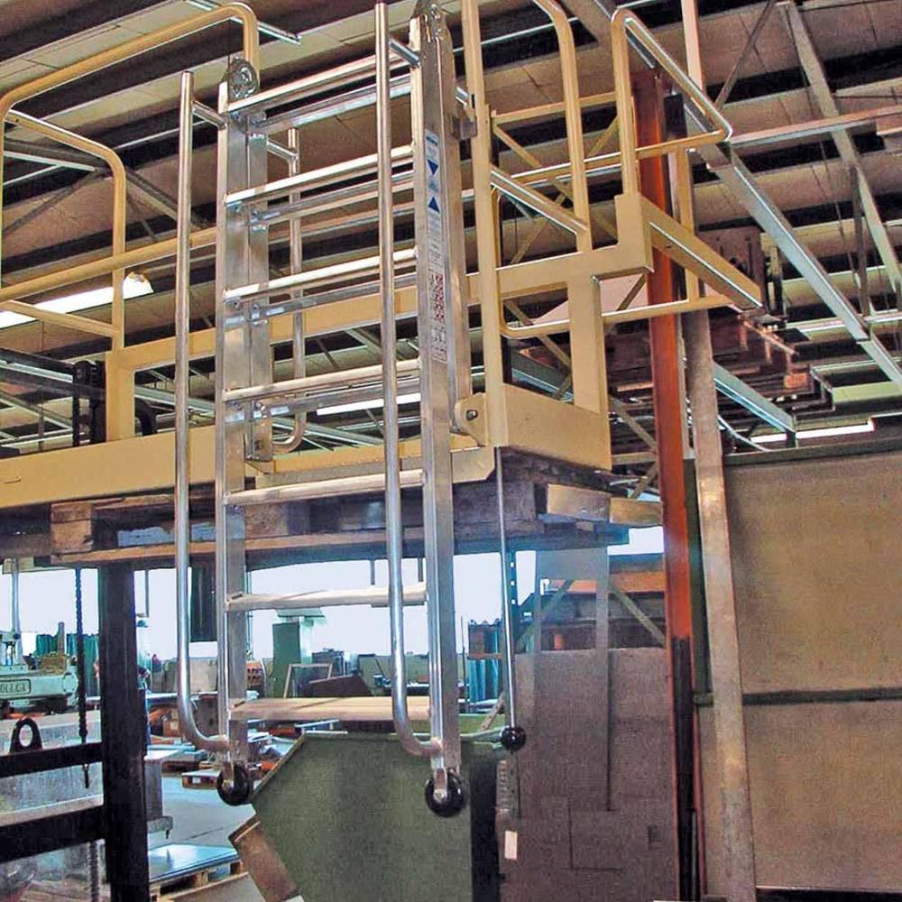 Gelenk-Stufenleiter miot Handläufen und Führungsrollen