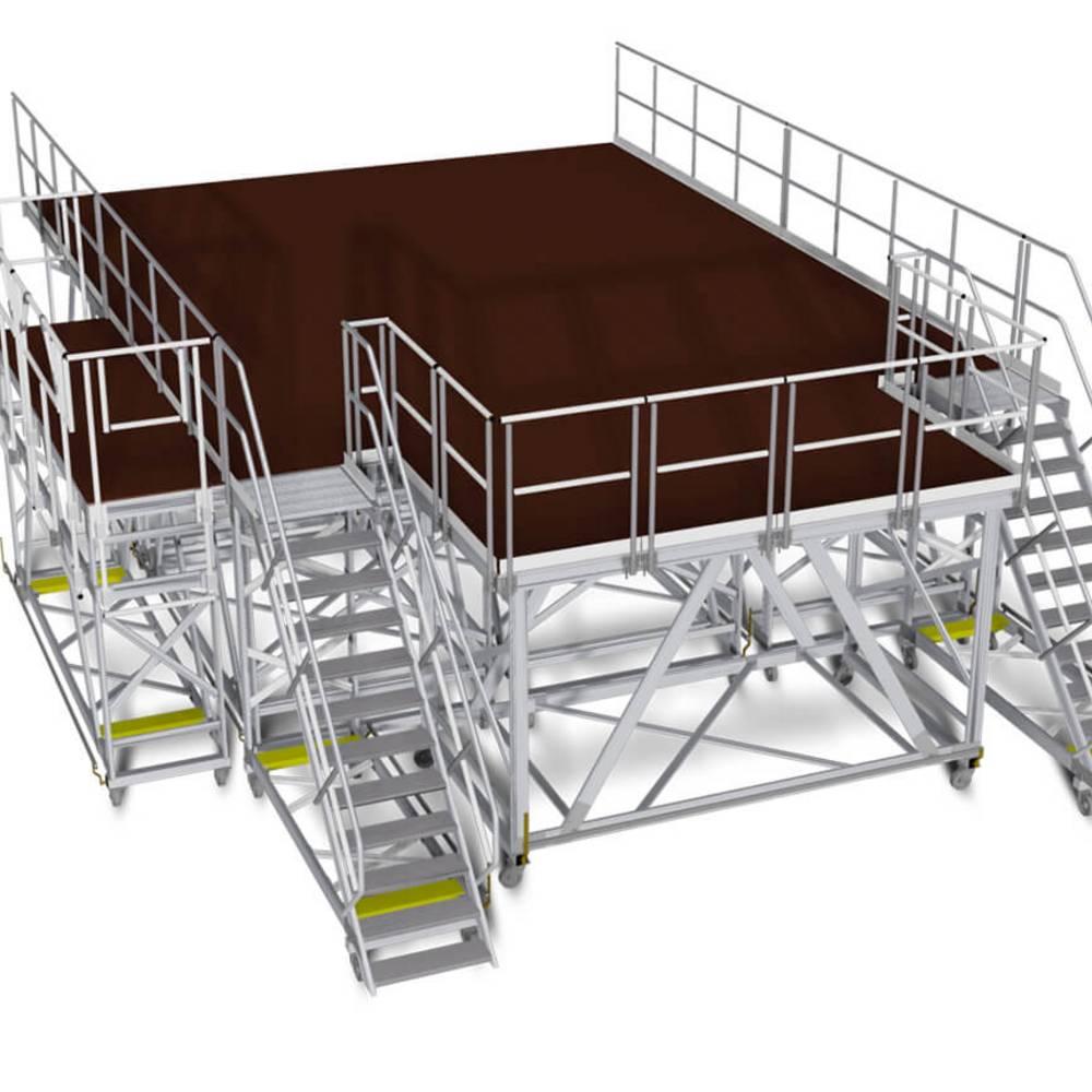 Konstruktionsentwurf einer fahrbaren Arbeitsbühne mit zwei Treppen