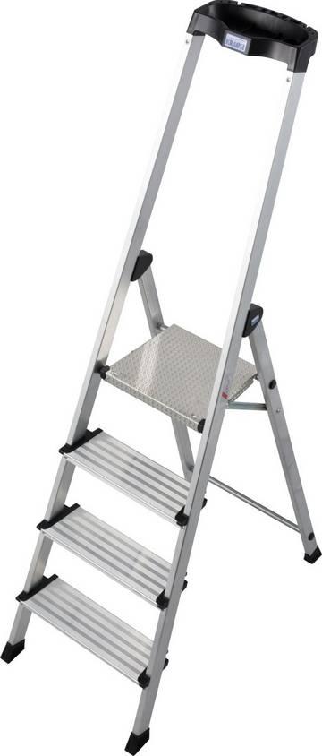 Die komfortable und leichte Aluminium-Stehleiter mit extra hohem Sicherheitsbügel und vielen praktischen Ablagemöglichkeiten.