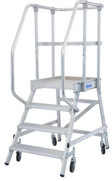 Fahrbare, einseitig begehbare Aluminium-Podestleiter mit tiefen Stufen, beidseitigem Geländer, großer Standplattform für sicheres und bequemes Arbeiten.