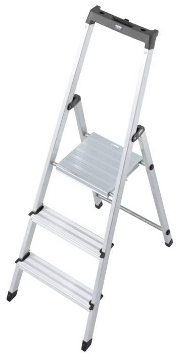Die solide und praktische Stufen-Stehleiter mit kleiner Ablage und Eimerhaken für die unterschiedlichsten Tätigkeiten im Innenbereich.