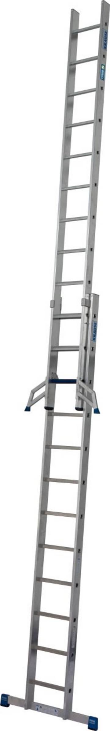 Die stabile, zweiteilige Schiebeleiter mit Stufen/Sprossen-Kombination für TRBS 2121-2-konforme Anwendung. Durch die neue, innovative Stufen/Sprossen-Kombination in einer Leiter kann diese als Verkehrsweg und als Arbeitsplatz verwendet werden. Durch die innovative KRAUSE Trigon-Traverse sind die Leiternteile der Schiebeleiter 2 x 12 separat verwendbar.