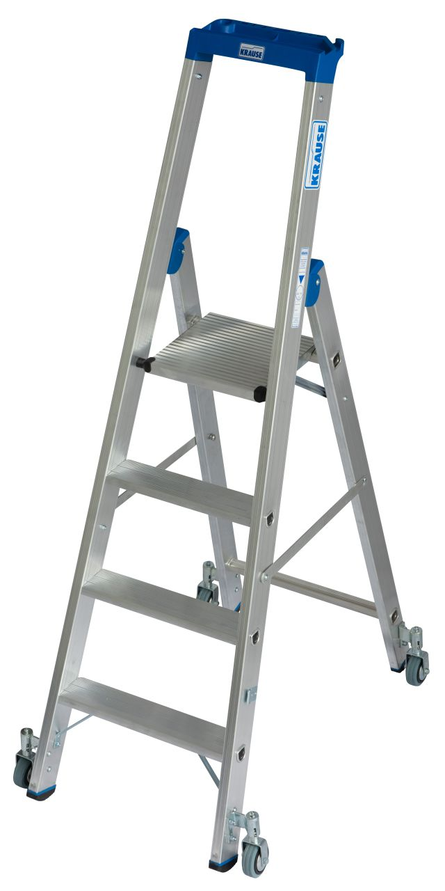 Stufen-Stehleiter, fahrbar. Die robuste Aluminium-Stehleiter mit Multifunktionsschale und Fahrrollen für den mobilen Einsatz
