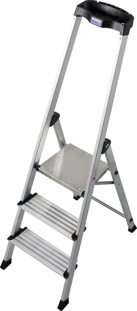 Stufen-Stehleiter Safety. Die komfortable und leichte Aluminium-Stehleiter mit extra hohem Sicherheitsbügel und vielen praktischen Ablagemöglichkeiten