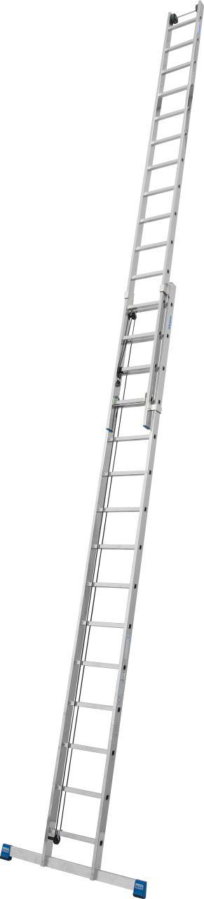 Sprossen-Seilzugleiter, zweiteilig. Zweiteilige Sprossen-Seilzugleiter für den professionellen Einsatz in großen Arbeitshöhen bis 13,10 m mit Wandlaufrollen zum komfortablen Ausfahren der Leiter