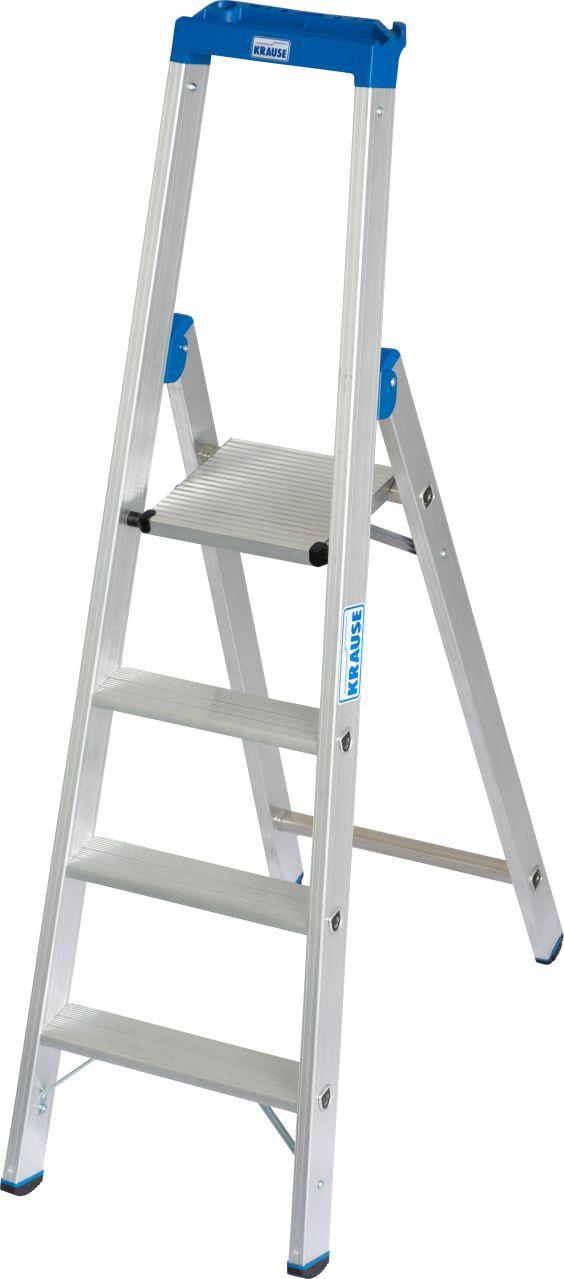 Stufen-Stehleiter. Die robuste Aluminium-Stehleiter mit Multifunktionsschale und Eimerhaken für den professionellen Einsatz