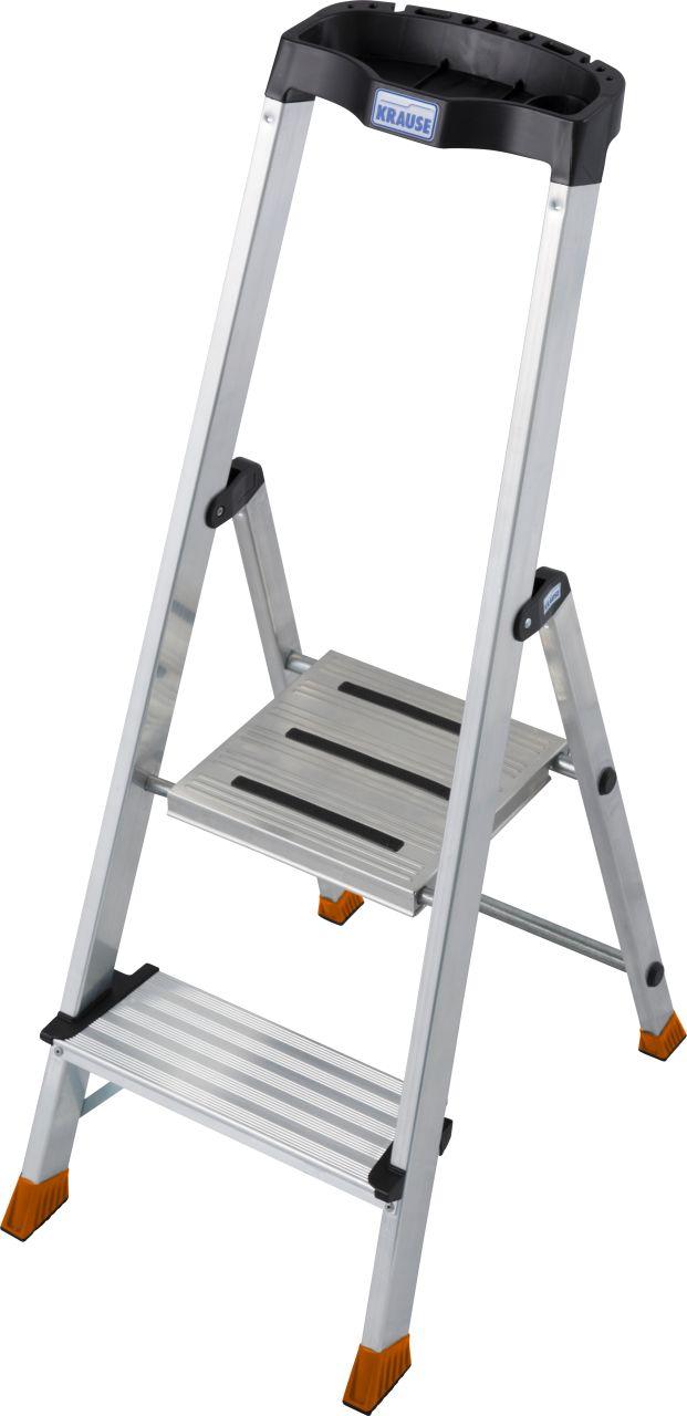Stufen-Stehleiter Sepuro. Aluminium.Stehleiter mit extra tiefen Stufen und großer ergonomischer Multifunktionsschale