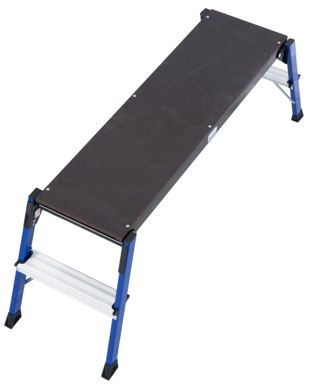 Arbeitsplattform Steptop. Die stabile Aluminium-Arbeitsplattform eignet sich ideal für Arbeiten, die eine große Standfläche benötigen und kann platzsparend zusammengeklappt werden.