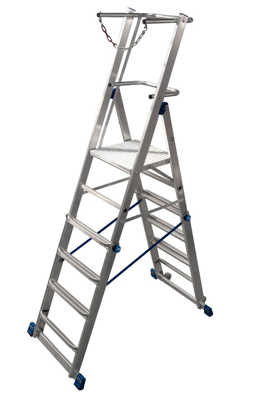 Teleskop-Plattformleiter Leicht höhenverstellbare Teleskop-Plattformleiter mit großer Standplattform und U-förmigem Sicherheitsbügel mit Absperrkette für sicheren Stand sowie integrierten Rollen für rückenschonenden Transport