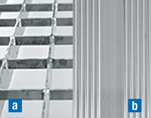 Abgehängte Dacharbeitsbühne – a) Gitterrost b) Aluminium gerieft