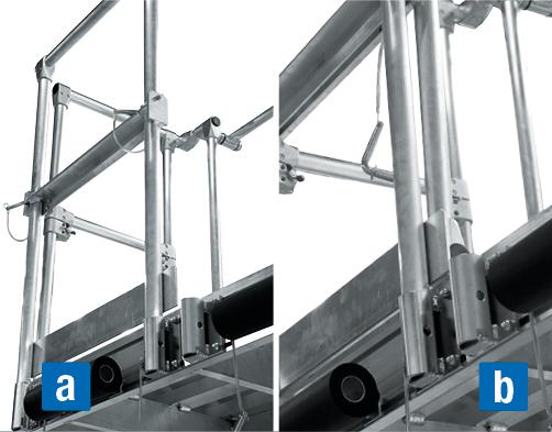 Abgehängte Dacharbeitsbühne – Steckbares Geländer a) ausgeklappt b) eingeklappt