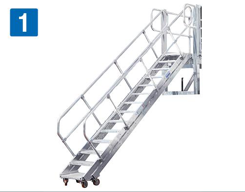 fahrbare Dacharbeitsbühne – Schlepptreppe