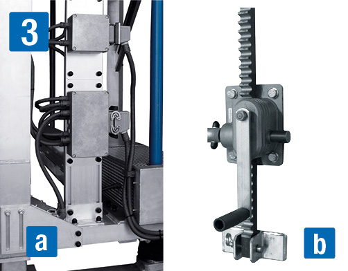 Frontarbeitsbühne – Höhenverstellbar a) elektrisch, b) manuell