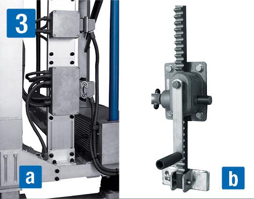 höhenverstellbare Seitenarbeitsbühnen – höhenverstellbar, a) elektrisch, b) manuell